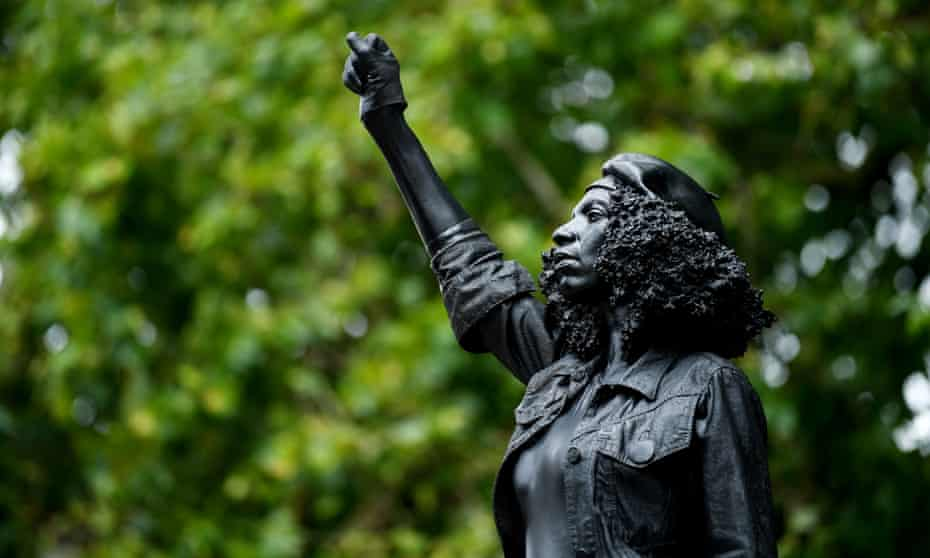 Quinn's sculpture of BLM protester Jen Reid, which replaced a statue of slave trader Edward Colston in Bristol, was removed soon after it was put up.