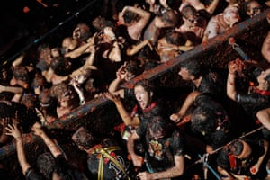 People take part in La Tomatina in Spain