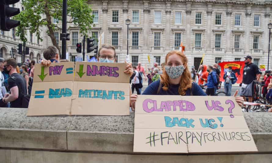 A nurses' protest calling for a higher pay offer in London last month.