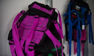 Backpacks made by former rebel fighters.