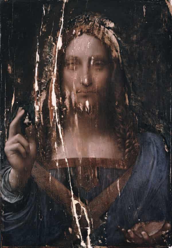 Centuries of neglect … Salvator Mundi before its restoration.