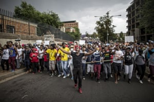Students in Johannesburg protest against the rise in tuition fees.