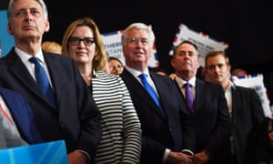 Philip Hammond and Amber Rudd join cabinet colleagues at an election rally.