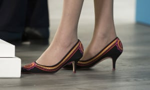 Theresa May's shoes, as she gave her press conference this morning. May is proud of her footwear and recently spoke about how a woman in the Commons told her how May's enthusiasm for shoes encouraged her to get involved in politics.