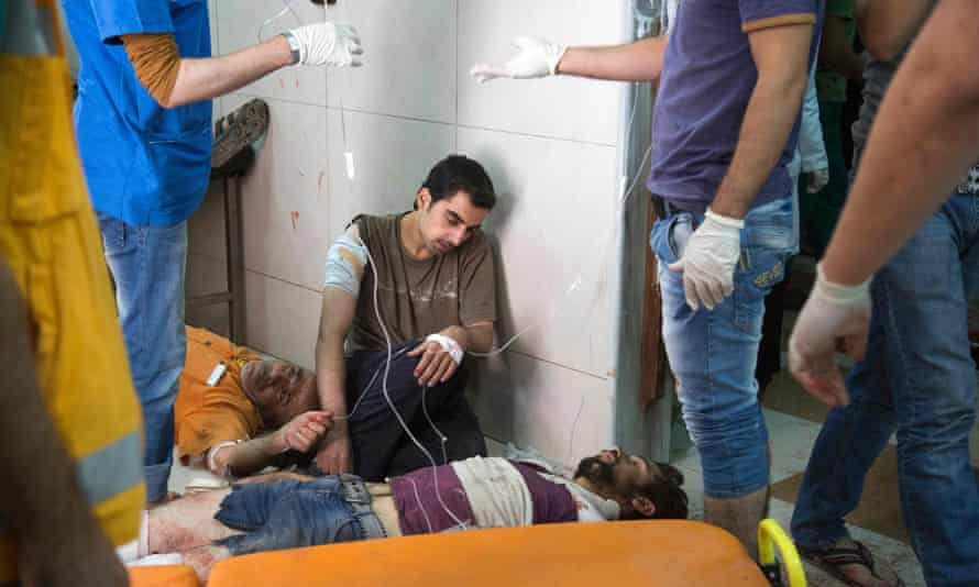 A makeshift hospital in Aleppo