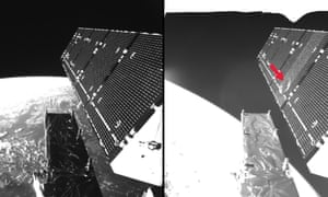 The picture shows Sentinel-1A's solar array before and after the impact of a millimetre-size particle on the second panel. The damaged area has a diameter of about 40 cm, which is consistent on this structure with the impact of a fragment of less than 5 millimetres in size.