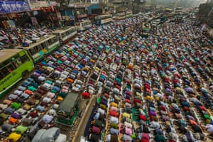 Thousands of devotees praying on the Dhaka-Mymensingh highway, Bangladesh, on first day of Bishwa Ijtema, the second largest Islamic congregation after theHajj