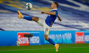 Leandro Trossard in action for Brighton against Manchester United in the Carabao Cup on Wednesday.
