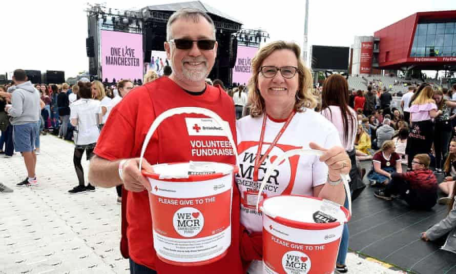 Volunteer fundraisers collect for the One Love Manchester appeal for victims of the bombing.