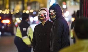A pair of clowns in Georgetown, Washington.