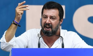 Matteo Salvini delivers a speech at the League's annual rally