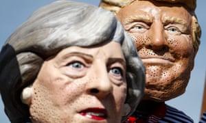 Masks of Theresa May and Donald Trump