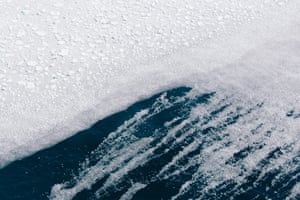 Multitudes of iceberg bits and brash ice are pulled by currents and pushed by winds along the edge of the pack edge, the margin separating open water from the treacherous reaches of unconsolidated ice