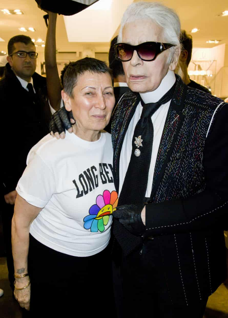 Colette Roussaux and Karl Lagerfeld last month.