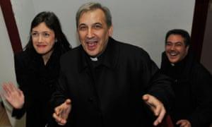 Monsignor Lucio Ángel Vallejo Balda at the theatre in January 2014.