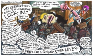 Martin Rowson cartoon 24.03.20 - Johnson press conference rammed with people revelling