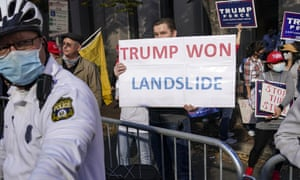 Supporters of Donald Trump turn out in Philadelphia on 7 November.