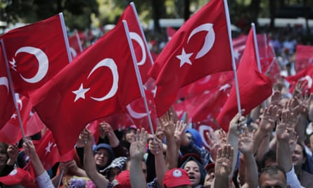 Turkish government supporters protest against the attempted coup