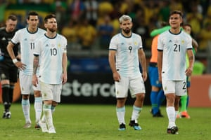 Angel Di Maria, Lionel Messi, Sergio Aguero and Dybala react after Argentina's defeat to Brazil in the semi-final of the 2019 Copa America.