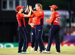 Heather Knight and Sophie Ecclestone celebrate the wicket of Jahanara Alam.