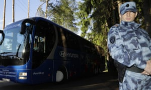 The England squad arrive by bus at their World Cup training base in Repino near St Petersburg amid high security.