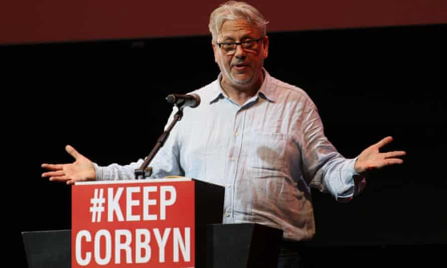 Jon Lansman speaking at a Corbyn Stays rally in London in July.