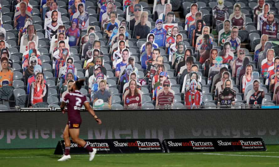 Cardboard cut-outs of NRL fans