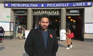 Uxbridge Election Voxpop<br>UXBRIDGE, MIDDLESEX, OCTOBER 31ST 2019. UXBRIDGE ELECTION VOXPOP  25-year-old Labour Party candidate Ali Milani is pictured outside the Underground Station in Uxbridge ahead of his battle to win the local parliamentary seat in Uxbridge Middlesex, October 31st, 2019. Prime Minister Boris Johnson has held the west London constituency of Uxbridge and South Ruislip  since 2015 by a small majority of 5,034, which Ali Milani intend to fight him for in the December election.  Photo credit: Susannah Ireland