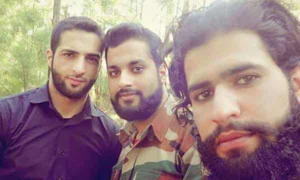 Picture of Burhan Wani (L) and his successor as the head of Hizbul Mujahideen, Zakir Musa (R). Location and date unknown.
