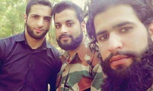 Picture from social media of Burhan Wani (left) and his successor, Zakir Musa (right). Location and date unknown.