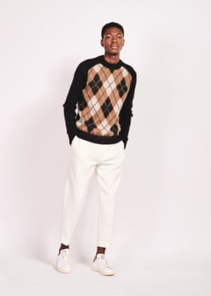 Diamond geezerBlack and beige jumper, £59.99 and white trousers, £69, both cosstores.com Classic trainers, £74.99, Adidas, office.co.uk