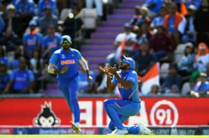 Vijay Shankar of India takes the catch of Gulbadin Naib of Afghanistan.