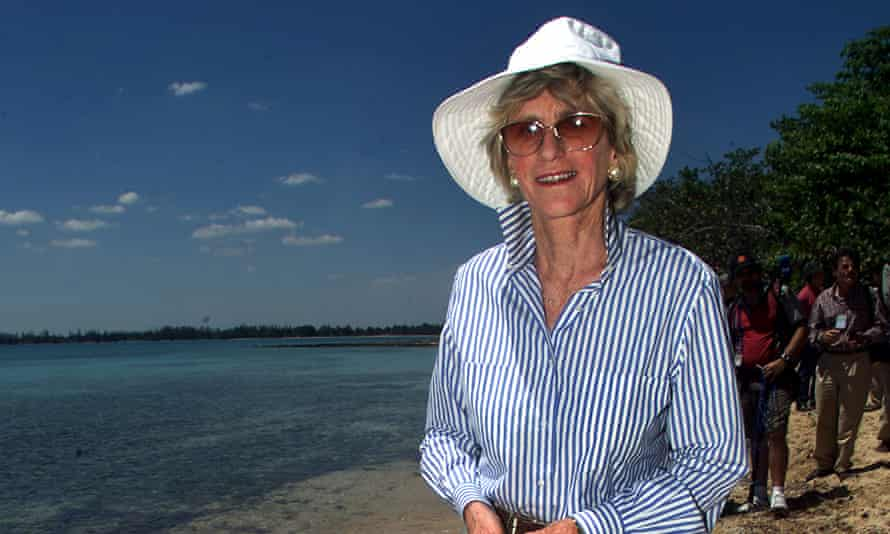 Jean Kennedy Smith, sister of the late President John F. Kennedy, walks on the beach at the Bay of Pigs in Cuba, 150 kilometers (90 miles) south of Havana Saturday, March 24, 2001. This visit was a part of a three-day-conference on this historic battle. (AP Photo/Jose Goitia)