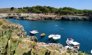 Porto Badisco inlet with boats
