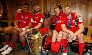 Saracens forwards Will Skelton, George Kruis, Maro Itoje, Jackson Wray and Nick Isiekwe kick back after their win over Leinster.