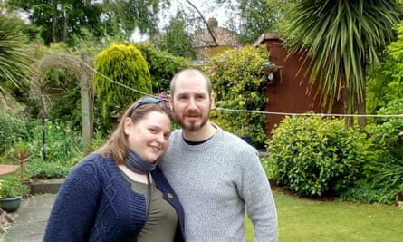 Victoria Dewsnip with her fiance, Paul, who have had to move back in with Dewsnip's mother after being furloughed.