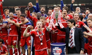 Middlesbrough celebrate their promotion to the Premier League.