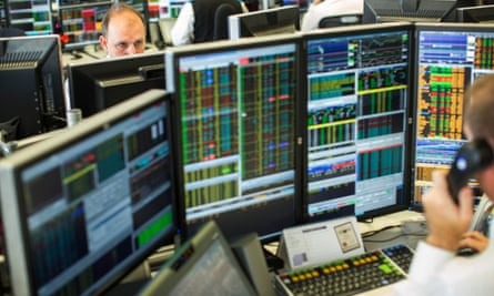 Trading screens on a City of London trading floor