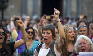 Women protest against the verdict of a previous sexual assault case in Spain.