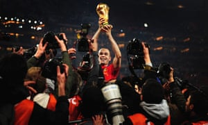 Andrés Iniesta celebrates after his goal won the 2010 World Cup for Spain. He says he game reached 'another level' that day.
