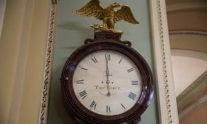 The Ohio Clock strikes midnight in the Senate, marking the beginning of the federal shutdown.