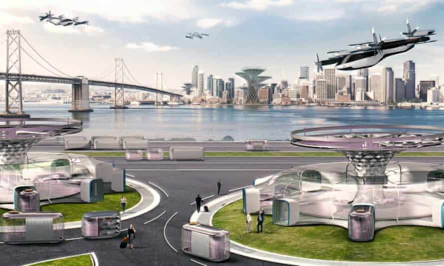 An artist's impression of the Hyundai urban air mobility test flights.