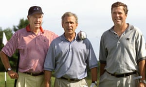 George Bush Sr, George W and Jeb play a spot of golf at the Cape Arundel club in Maine in 2001.