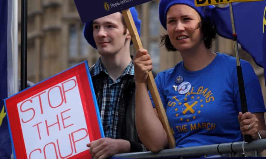 Anti-Brexit activists protest outside parliament