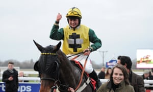 Milansbar and Bryony Frost are led into the winner's enclosure after Warwick's big race