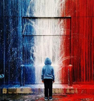 One of the most striking #sprayforparis images being shared across social media has been this photo of a mural in Houston.