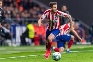 Saúl in action for Atlético earlier this month.