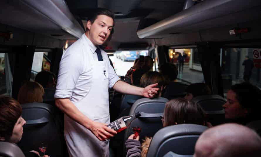 A minibus transports guests from bar to bar