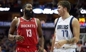 Luka Doncic (right) may well end up joining James Harden as an All-Star