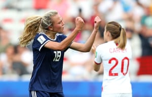 Scotland's Claire Emslie celebrates after scoring her team's first goal during the 2019 Women's World Cup.